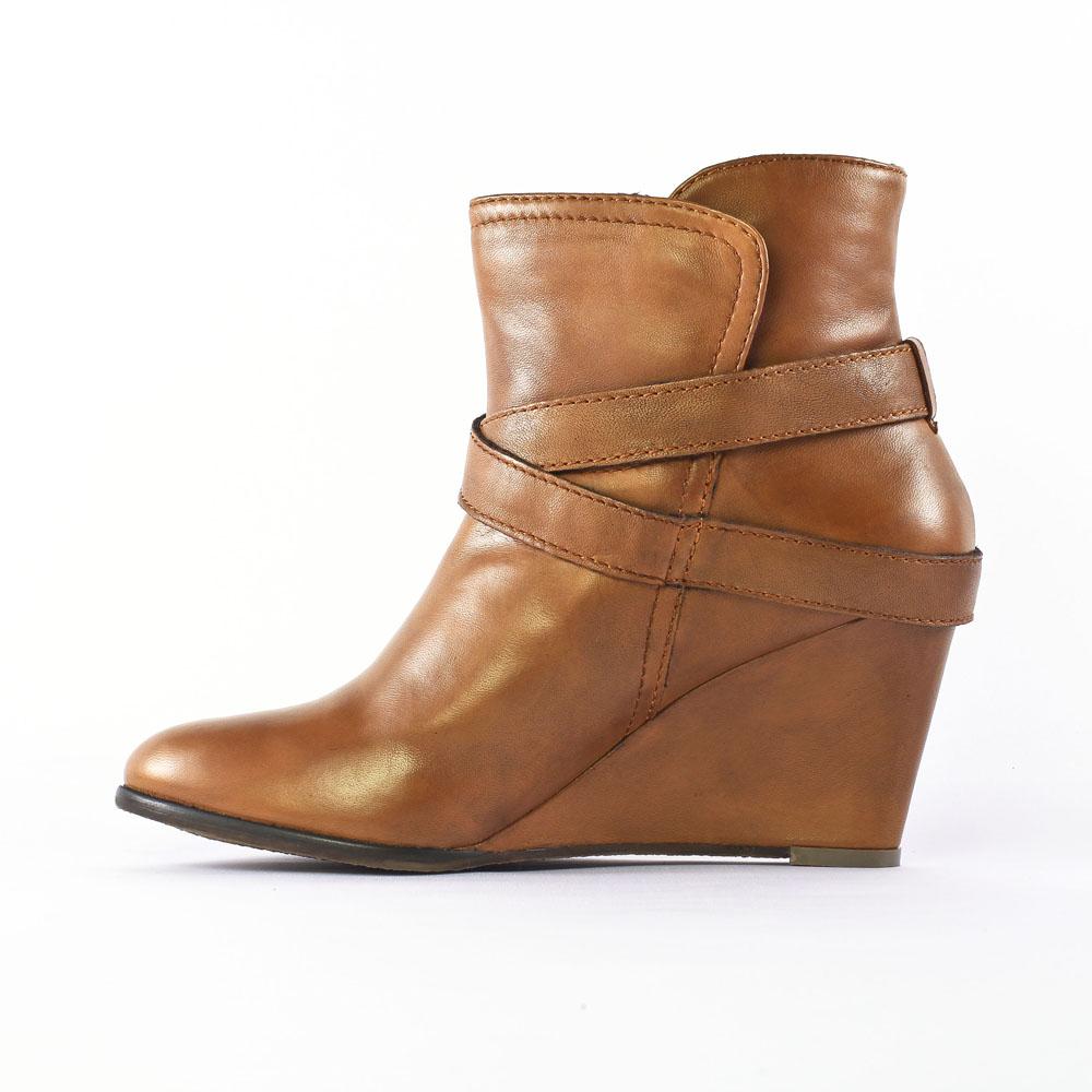 bottines marron compensées